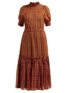 Proenza Schouler Square-print gathered silk-georgette midi dress