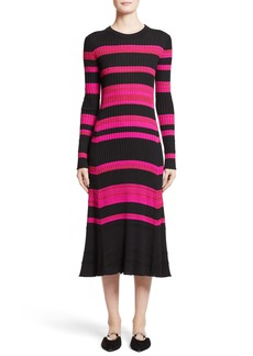 Proenza Schouler Stripe Cashmere, Wool & Silk Midi Dress