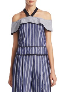 Proenza Schouler Stripe Cold-Shoulder Cotton Top