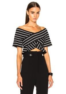 Proenza Schouler Stripe Jacquard Suiting Off The Shoulder Top