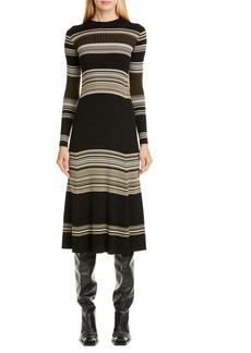 Proenza Schouler Stripe Long Sleeve Merino Wool Blend Sweater Dress