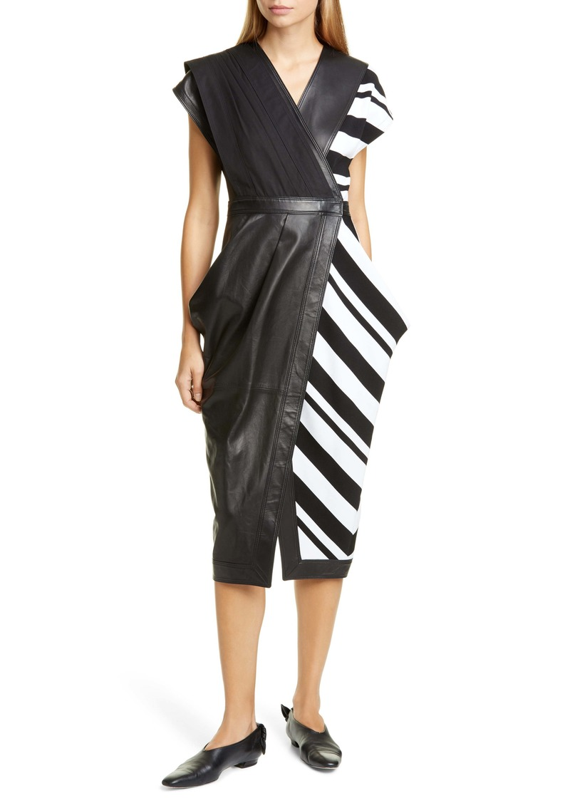 Proenza Schouler Stripe Silk Crepe & Leather Midi Wrap Dress