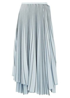 Proenza Schouler Striped asymmetric-hem pleated-crepe wrap skirt