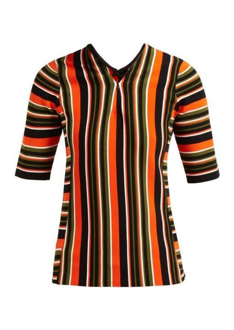 Proenza Schouler Striped-intarsia zip-front sweater