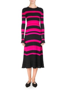 Proenza Schouler Striped Rib Knit Long-Sleeve Midi Dress