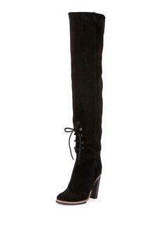 Proenza Schouler Suede Lace-Front 100mm Tall Boot