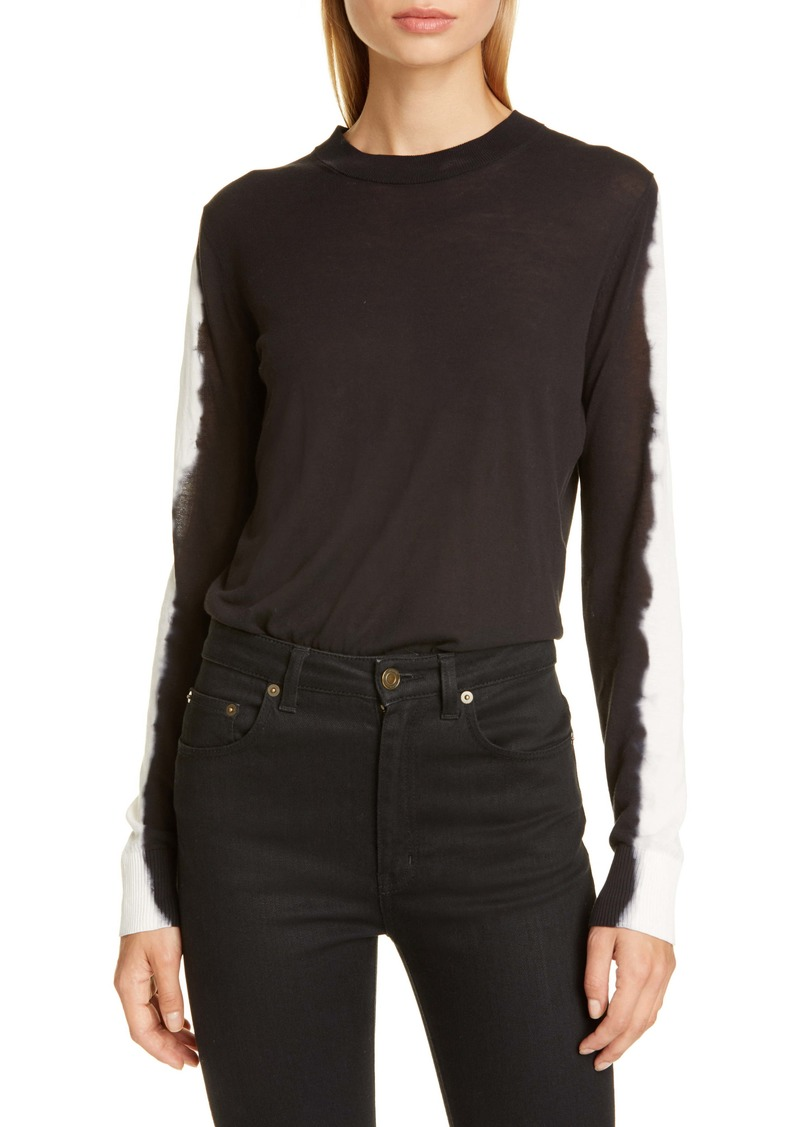 Proenza Schouler Tie Dye Sleeve Cotton Blend Sweater