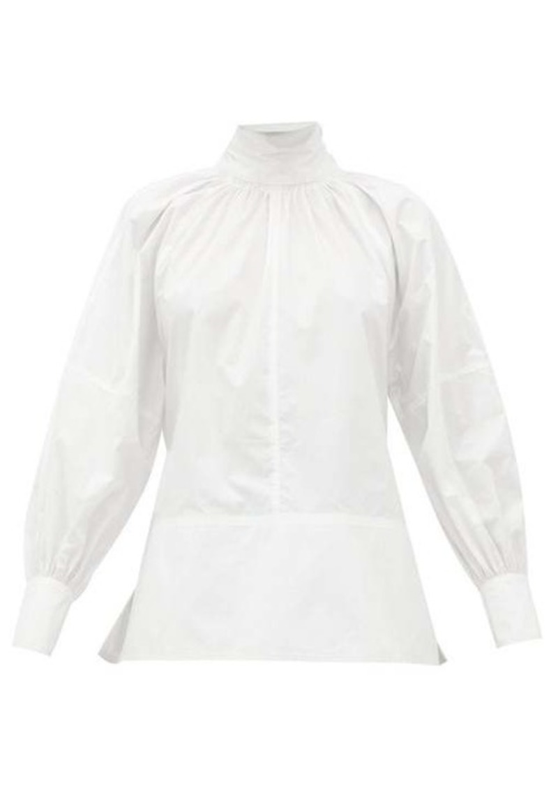 Proenza Schouler Tie-neck cotton-poplin shirt
