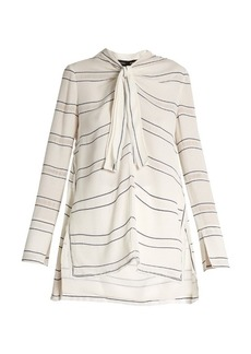 Proenza Schouler Tie-neck pinstriped stretch-crepe blouse