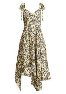 Proenza Schouler Tie-shoulder floral-print crepe dress