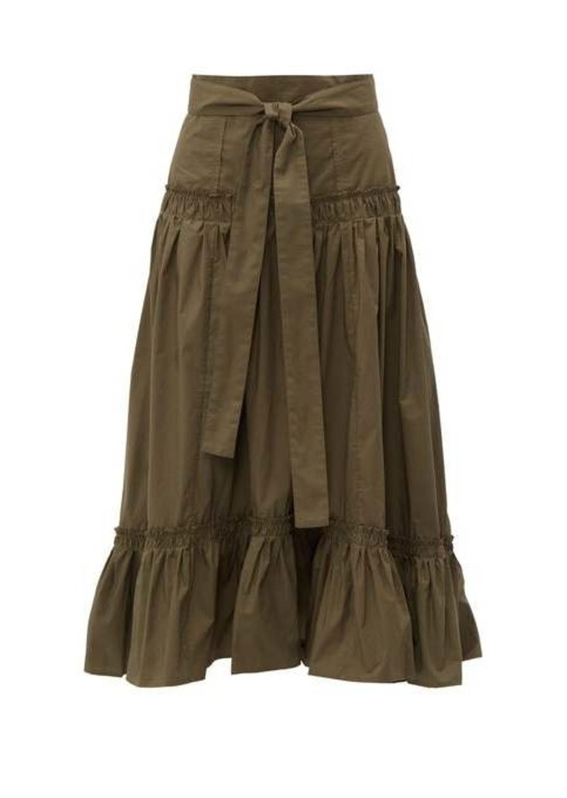 Proenza Schouler Tiered cotton-poplin midi skirt