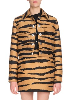 Proenza Schouler Tiger-Jacquard Snap-Front Cropped Jacket