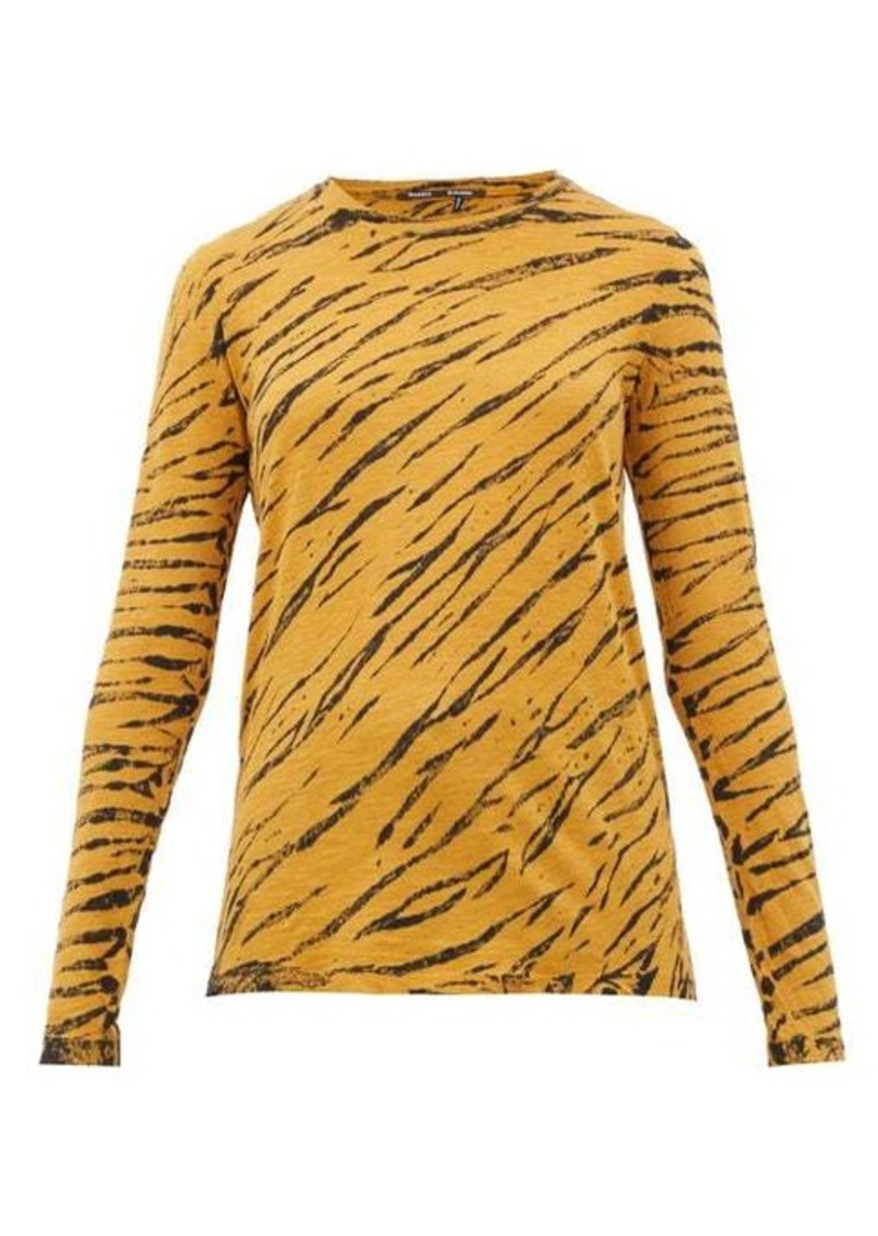 Proenza Schouler Tiger-print long-sleeved cotton T-shirt