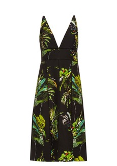 Proenza Schouler Tropical-print cut-out dress