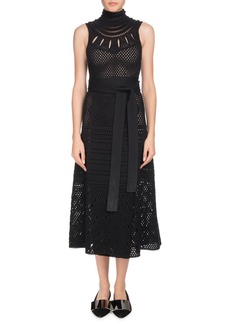 Proenza Schouler Turtleneck Sleeveless Crochet Long Dress