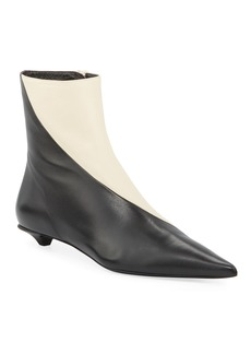 Proenza Schouler Two-Tone Kitten-Heel Booties
