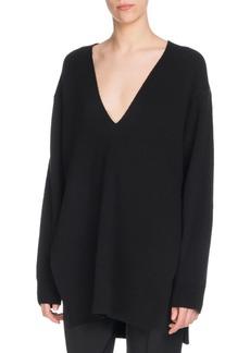 Proenza Schouler V-Neck Long-Sleeve Wool Silk-Cashmere Tunic Sweater