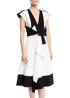 Proenza Schouler V-Neck Sleeveless Colorblocked Dress w/ Tie-Waist Detail