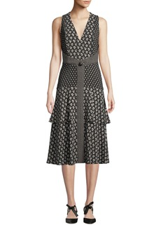 Proenza Schouler V-Neck Sleeveless Mixed-Print A-Line Midi Dress
