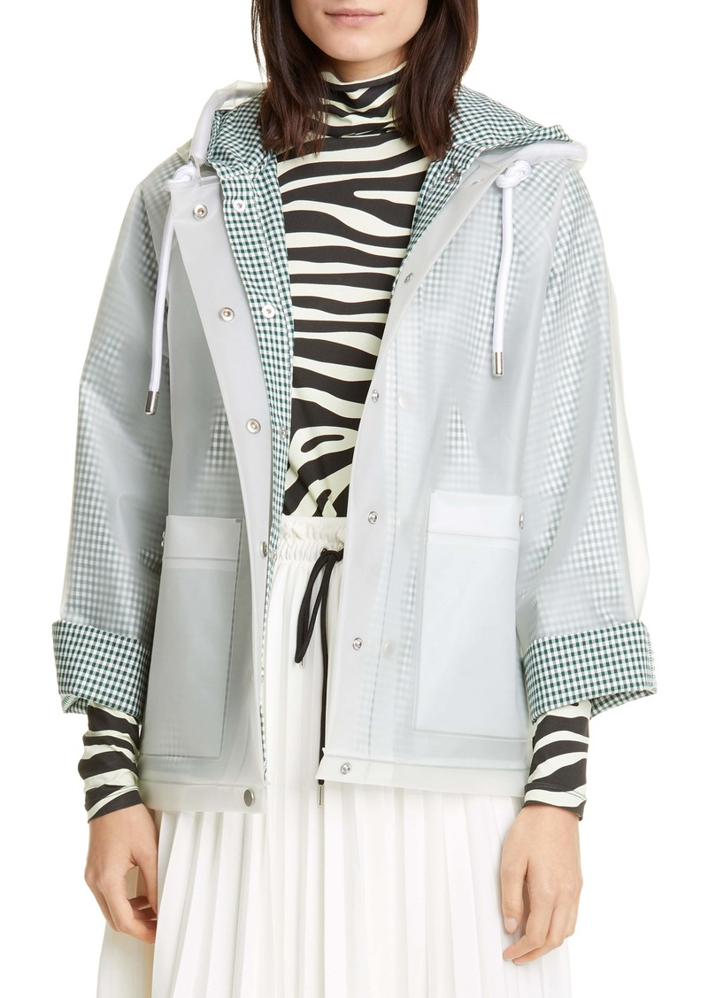 Proenza Schouler White Label Address Logo Print Short Raincoat with Removable Liner