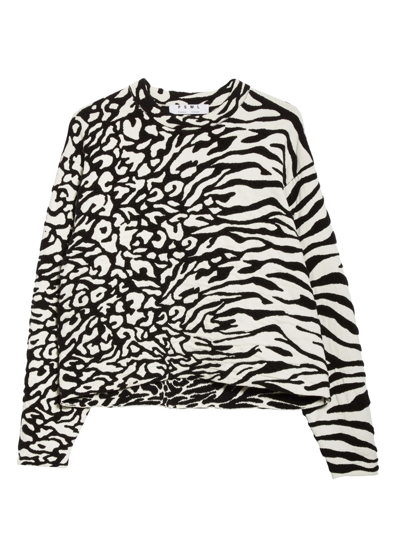 Proenza Schouler White Label Animal Jacquard Cotton Blend Sweater