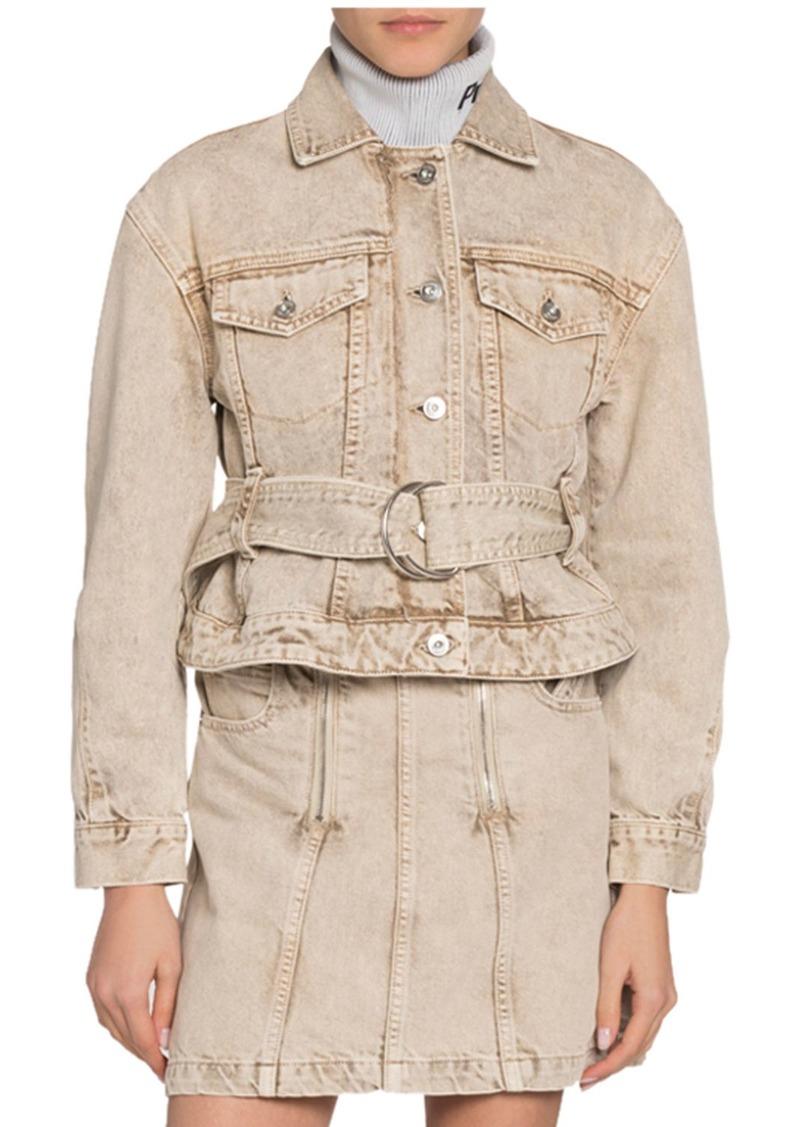Proenza Schouler White Label Belted Cropped Denim Jacket