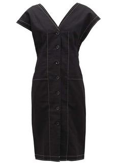 Proenza Schouler White Label Buttoned-sleeve cotton-blend twill dress