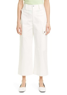Proenza Schouler White Label Crop Wide Leg Cotton Twill Cargo Pants