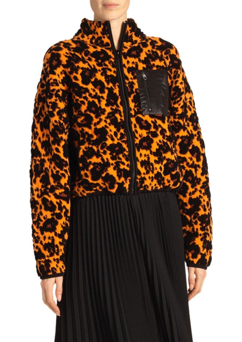 Proenza Schouler White Label Cropped Leopard Jacquard Bomber Jacket