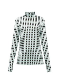 Proenza Schouler White Label Roll-neck checked cotton-blend jersey top