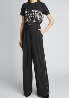 Proenza Schouler White Label Stretch Suiting Belted Pants