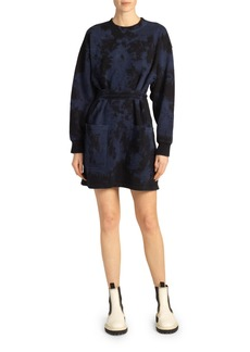 Proenza Schouler White Label Tie-Dye Belted Sweatshirt Dress
