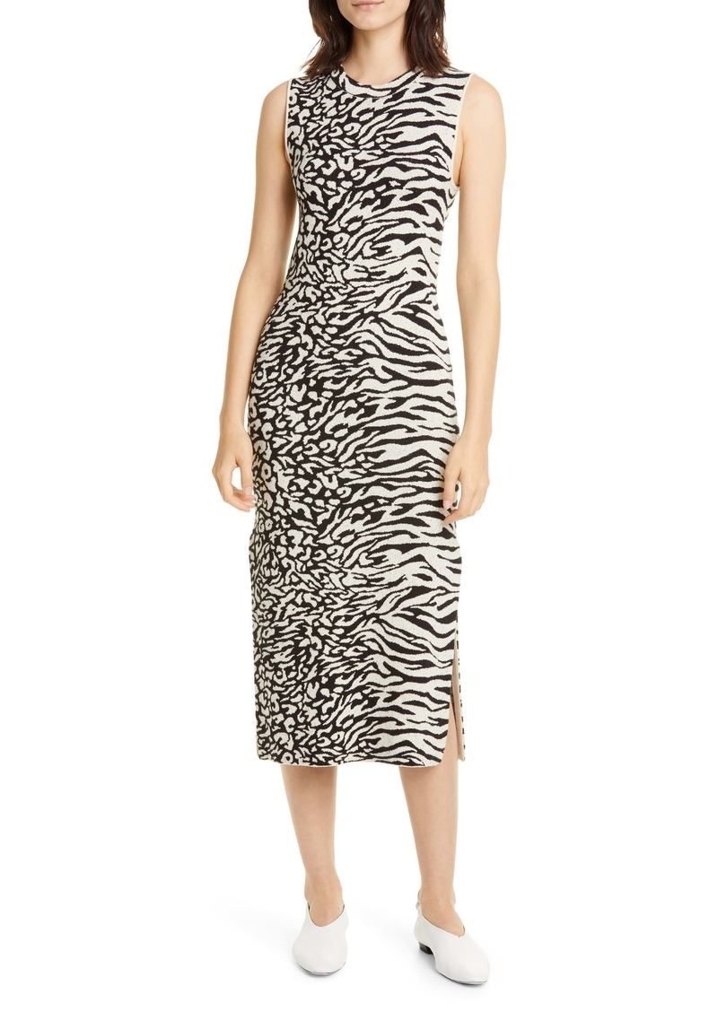 Proenza Schouler White Label Zebra & Leopard Jacquard Midi Dress