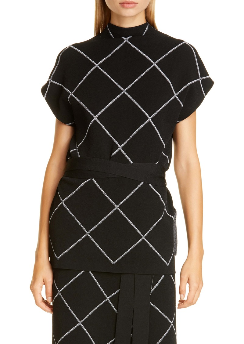 Proenza Schouler Windowpane Check Knit Mock Neck Top