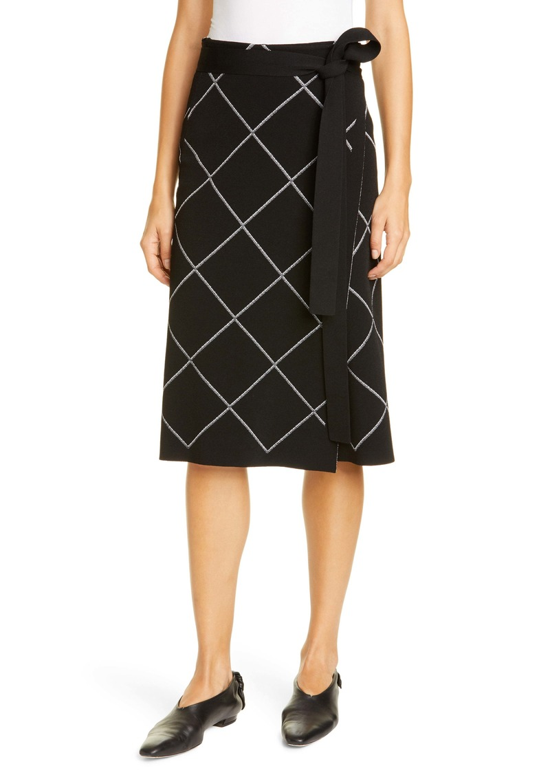 Proenza Schouler Windowpane Check Knit Wrap Skirt