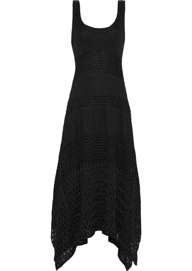 Proenza Schouler Woman Asymmetric Crochet-knit Midi Dress Black