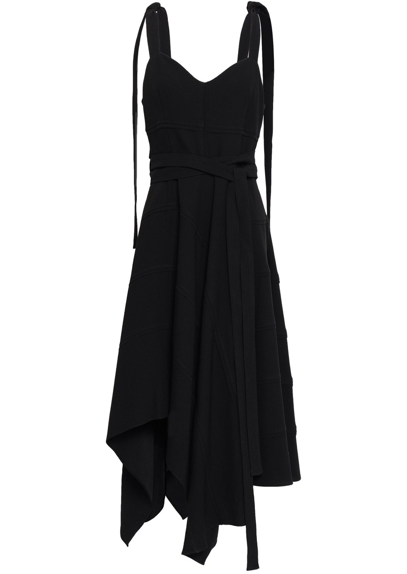Proenza Schouler Woman Asymmetric Draped Crepe Dress Black