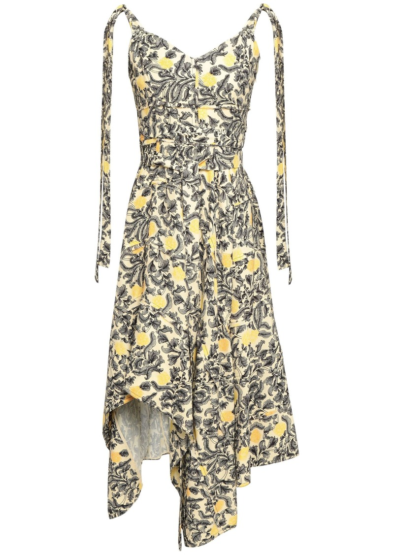 Proenza Schouler Woman Asymmetric Draped Printed Crepe Dress Pastel Yellow