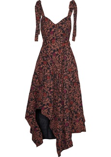 Proenza Schouler Woman Asymmetric Draped Printed Crepe Dress Black