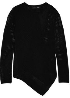 Proenza Schouler Woman Asymmetric Open-knit Sweater Black