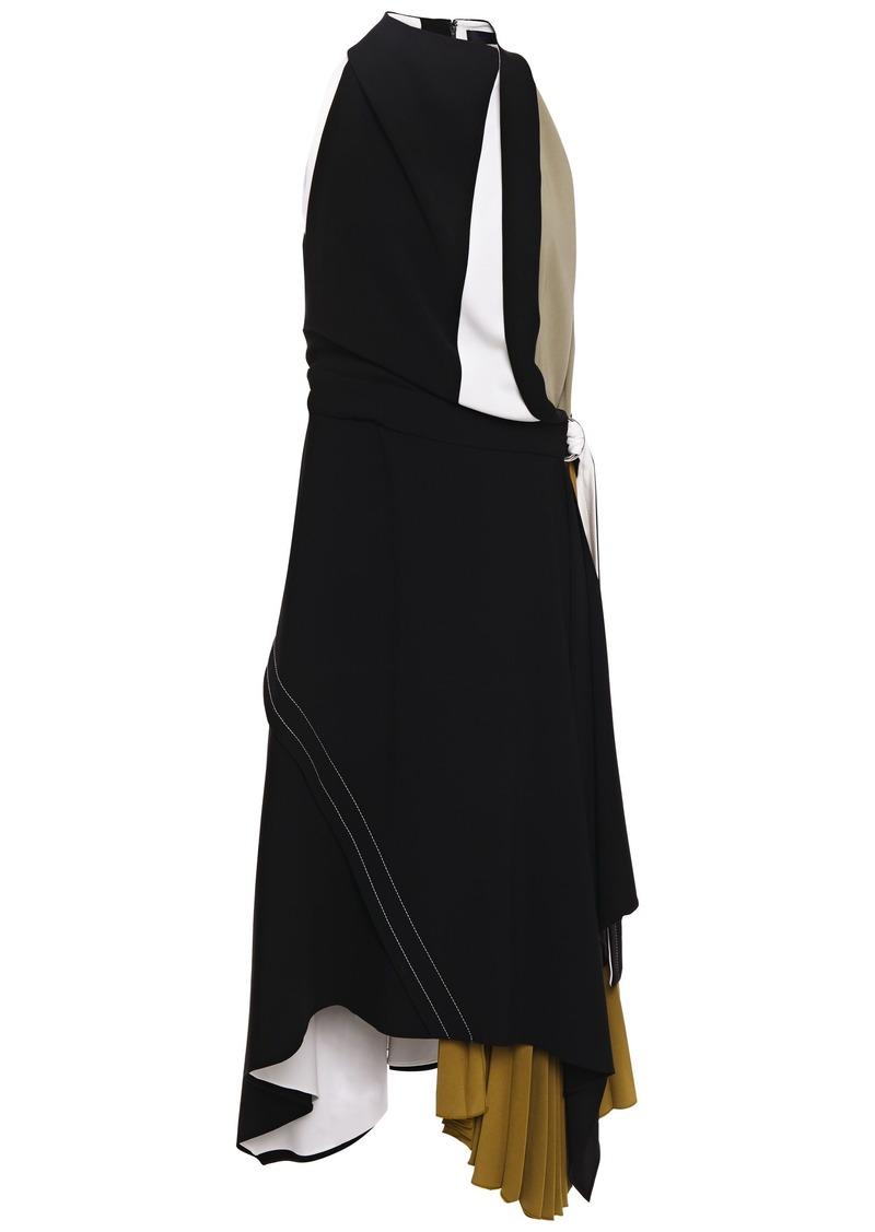 Proenza Schouler Woman Asymmetric Pleated Color-block Crepe Dress Black