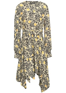Proenza Schouler Woman Asymmetric Printed Crepe Dress Pastel Yellow