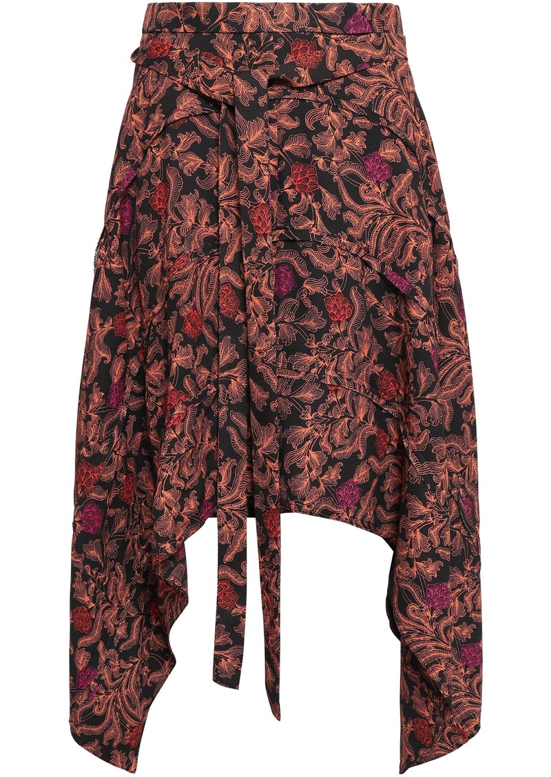 Proenza Schouler Woman Asymmetric Printed Crepe Skirt Black