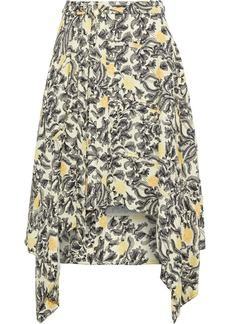 Proenza Schouler Woman Asymmetric Printed Crepe Skirt Pastel Yellow