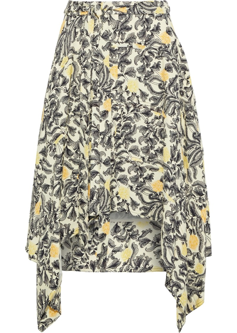 Proenza Schouler Woman Asymmetric Printed Crepe Skirt Pastel Yellow