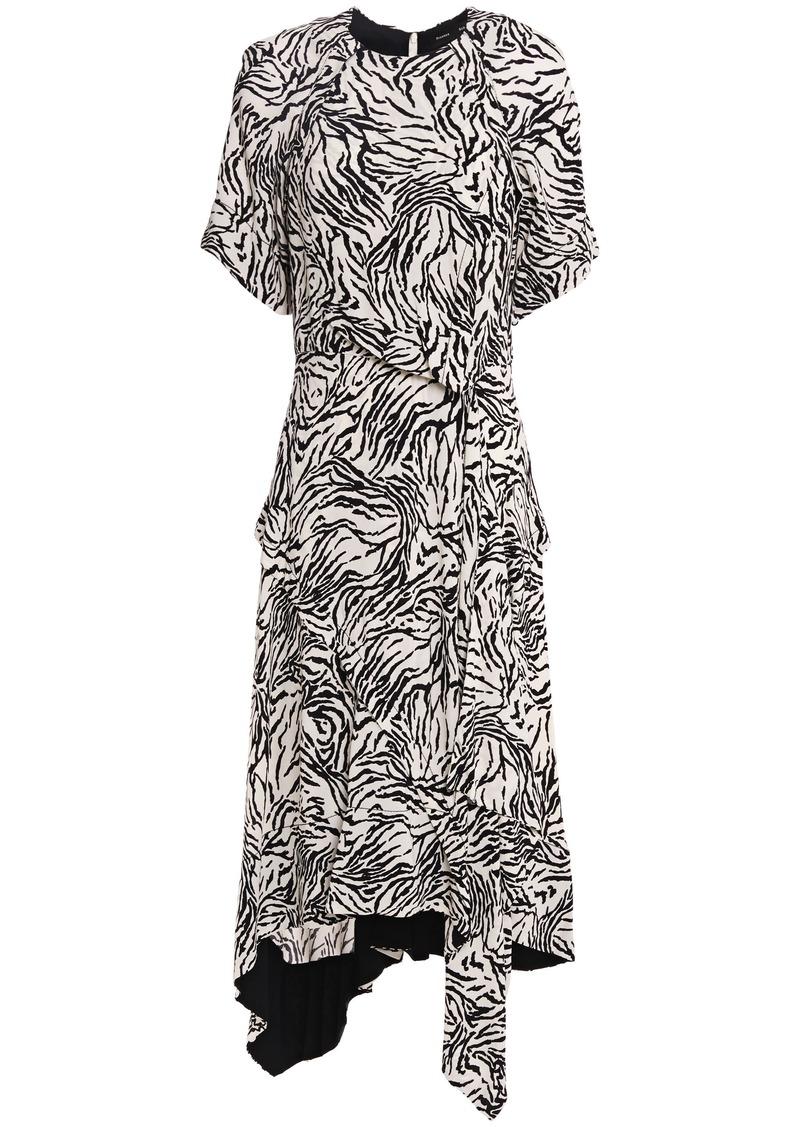 Proenza Schouler Woman Asymmetric Wrap-effect Zebra-print Crepe De Chine Dress Off-white