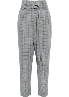 Proenza Schouler Woman Belted Checked Wool-blend Tapered Pants Black