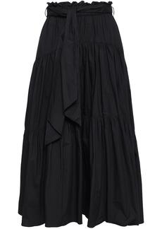 Proenza Schouler Woman Belted Cotton-poplin Midi Skirt Black