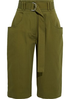 Proenza Schouler Woman Belted Cotton-twill Shorts Army Green