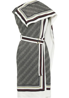 Proenza Schouler Woman Belted Draped Printed Twill Midi Dress Off-white